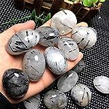 RIMEI Decoraciones para el hogar Piedras minerales de Cuarzo Negro Natural, Cristales de turmalina Negra para decoración de acuarios y Piedras para el jardín del hogar (Color : Black, Size : 50g)