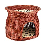 HURRISE Rattan Cat House Furniture, Hand-Made Wicker Cat Basket Bed Elevated Cat Bed Stand with Soft Pad Pet Sleeping Nesting Bed for Indoor Outdoor 17.32X12.99X13.19inch Brown