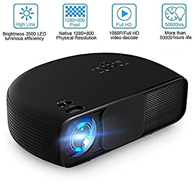 Video Projector Joyhero 4000 Lumens HD Viedo LCD Projector Support 1080P for Home Cinema Theater Conference Educate Entertainment Games Party Smartphone - Black