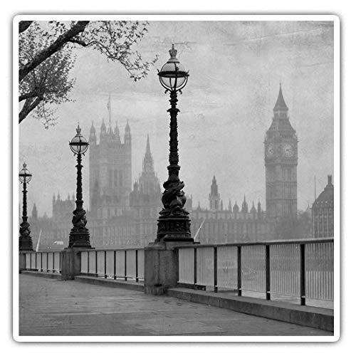 Impresionantes pegatinas cuadradas (juego de 2) 7,5 cm BW – Vintage Sepia Londres Big Ben UK Divertidas calcomanías para portátiles, tabletas, equipaje, reserva de chatarras, neveras, regalo genial #36425