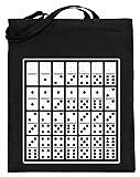 Chorchester Für Jeden Domino und Spiele Fan - Jutebeutel (mit langen Henkeln) -38cm-42cm-Schwarz