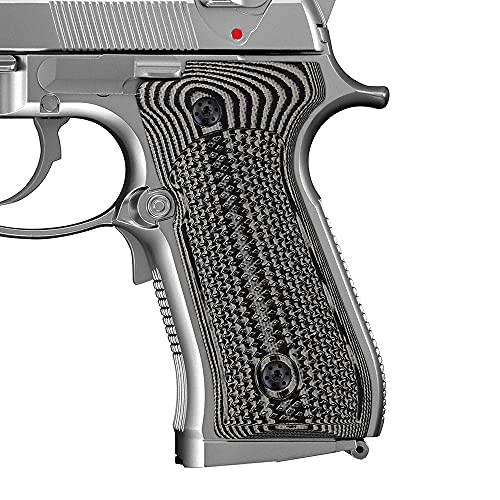Cool Hand G10 Grips for Beretta 92/96 Full Size, 92 fs, m9, 92a1, 92 INOX, Checkered Texture, Screws Included, Grey/Black, B92-DC-5