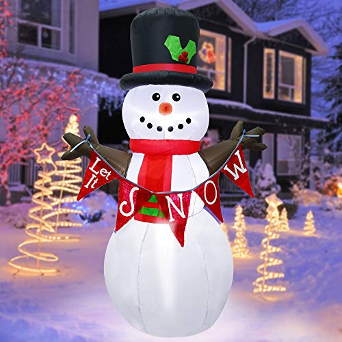 ATDAWN 5ft Christmas Inflatables Blow Up Yard Decorations, Inflatable Snowman Christmas Outdoor Decoration, Christmas Blow Up Snowman with Banner for Indoor Outdoor Yard Garden Christmas Decorations