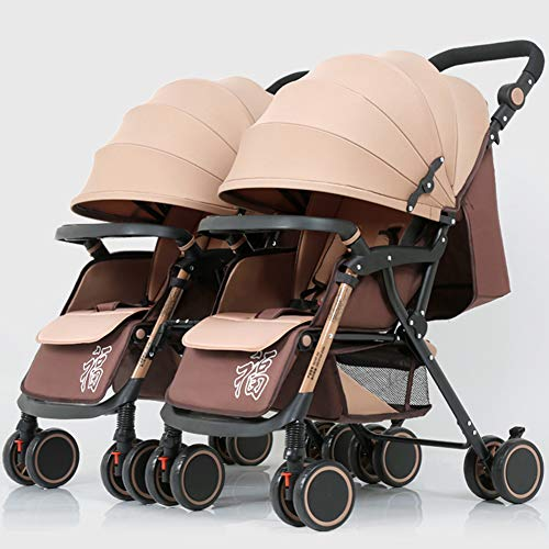Discover Bargain Twin Strollers – Light and Compact Folding – Multi-Position Reclining – Adjustable Footrest – Front Wheel Built-in Shock Absorber – from Birth to 25kg – Khaki