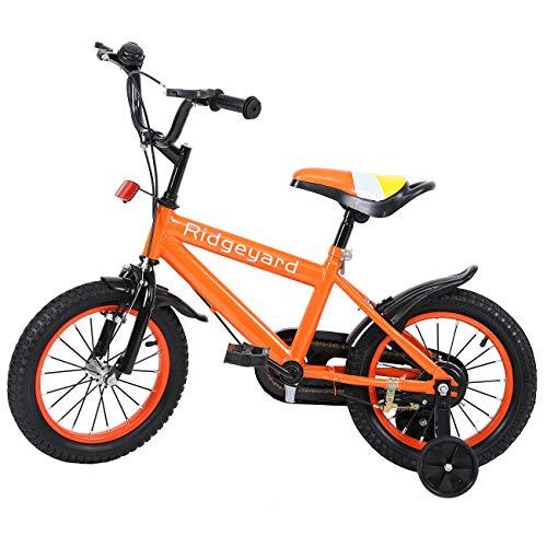MuGuang 14 Pollici Bicicletta da Bambina Bicicletta per Bambino Studio apprendimento Equitazione Bici Ragazzi Ragazze Bicicletta con stabilizzanti con Bell per 3-8 Anni (Arancione)