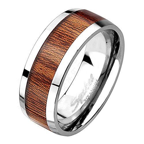 Mianova Herren Band Ring Titan Poliert mit Natur Holz Inlay Bandring Herrenring Partnerring Biker Rocker Silber Braun Größe 68 (21.6)