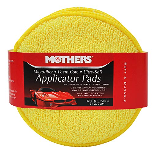 Mothers 156801 Yellow Microfiber Ultra Soft Applicator and Cleaning Pads (Six 5 Inch Pads)