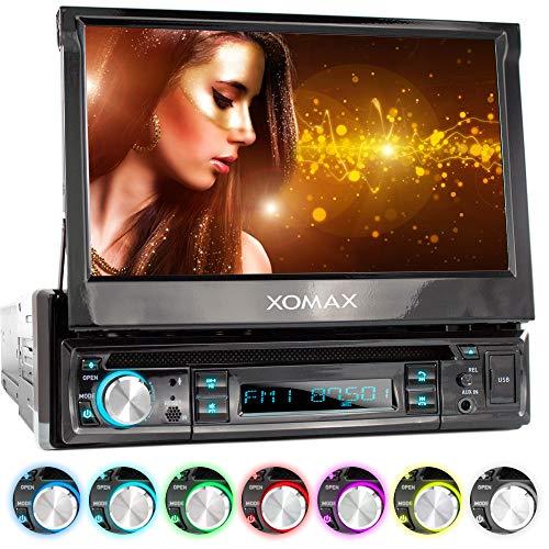 XOMAX XM-D749 Radio de Coche con Pantalla táctil de 18 cm / 7' I DVD, CD, USB, AUX I RDS I Bluetooth I Conexiones para cámara de Marcha atrás, Mando a Distancia del Volante y subwoofer I 1 DIN
