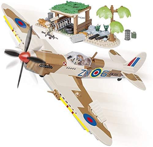 COBI Juminox Spitfire MK.IX Desert Airstrip 5545 - Juego de construcción de juguetes de combate Jet Supermarine Spitfire MK.IX Desert Airstrip 5545 + alfombrilla
