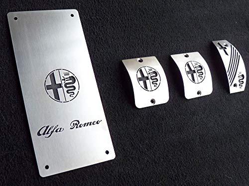 Pedales e Reposapiés De Acero para Alfa_Romeo 156 – 4 Piezas Placas Kit para Transmisión Manual Inox Metal Pedal De Embrague Freno Acelerador Cepillado Interior Personalizados