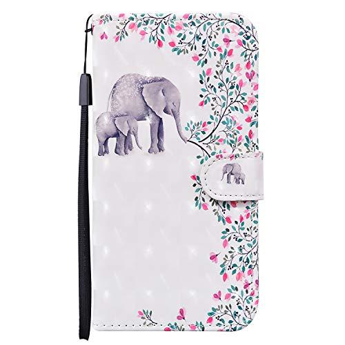 Onetoot - Funda para Xiaomi Redmi 7A de piel con diseño de elefante de flores, antigolpes, fina funda para teléfono móvil con soporte magnético y ranura para tarjeta, funda para Redmi 7A