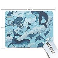 マウスパッド かわいい 魚柄 クジラ タコ サメ イルカ 高級 ノート パソコン マウス パッド 柔らかい ゲーミング よく 滑る 便利 静音 携帯 手首 楽
