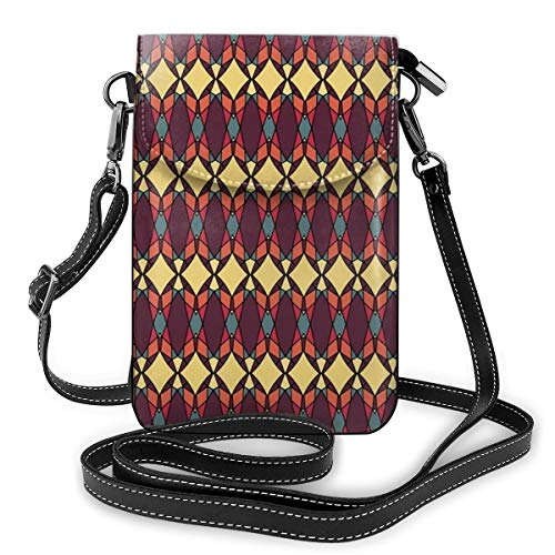 Women Small Cell Phone Purse Crossbody,Abstract Ethnic Traditional Figures Fractal Design Antique...