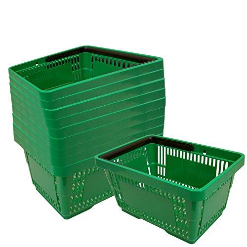 10 Einkaufskörbe aus Kunststoff Plastik mit Henkel 20 Liter 40cm stapelbar grün