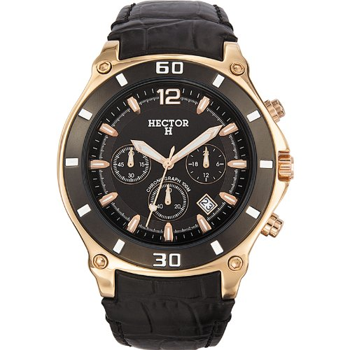 Hector H Herren-Armbanduhr Chronograph Quarz Leder 666005