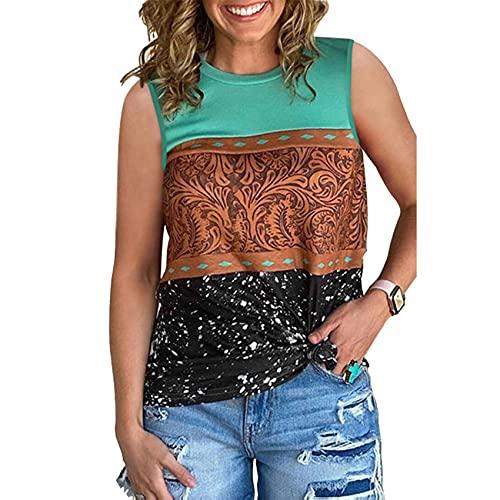 Camiseta sin Mangas Holgada Estampada Estilo étnico para Mujer