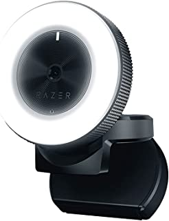 Razer Kiyo 1080p 30 FPS/720 p 60 FPS Streaming Webcam with Adjustable Brightness Ring Light, Built-in Microphone and Advan...