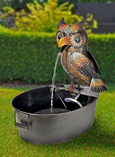 Metall-Brunnen Eule | oval | mit Spritzschutz | Maße: 38 x 51 x 56 cm | inkl. Brunnenpumpe | braun - Antik-Vintage Look | Gartenbrunnen