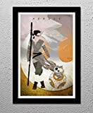 Rey and BB-8 Star Wars The Force Awakens 13x19 Minimalist Original Poster Print Art