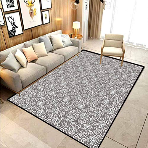 Floral Christmas Rugs Kitchen Classical Victorian Style Flowers Background in Scroll Shaped Curved Lines Art Print Modern Indoor Home Living Room Floor Carpet Grey White 4 x 5 Ft