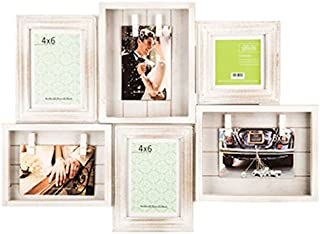 Rustic Beadboard Collage Frame with Clips in White, 4