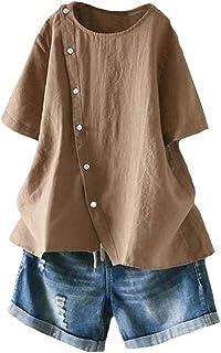 Mallimoda Damen Leinen Bluse Tunika Sommer Kurzarm T-Shirt Elegant Oberteil