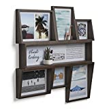 Umbra Edge, Large Wooden 4x4, 4x6, and 5X7 Collage Multi Picture Frame for Desktop or Wall, Aged Walnut, 4 by 6-Inch and 4 by 4-Inch