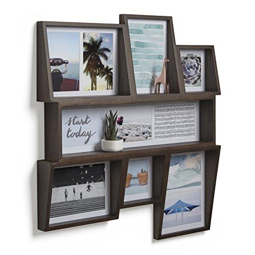 Umbra Edge Bilderrahmen Collage für 11 Bilder, Fotos, Kunstdrucke, Illustrationen, Graphiken und Mehr – Moderner Wand Multifotorahmen mit Integrierter Regalfläche aus Eschenholz, Walnuss Antik