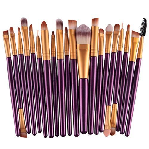 20 pcs pinceaux de maquillage pour les yeux Set fard à paupières mélange pinceau fond de teint poudre yeux sourcils lèvre eyeliner brosse outil cosmétique; violet et or Candybobo