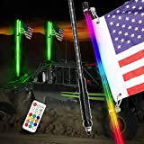 4FT LED Whip Lights, DJI 4X4 2Pcs Smoked Black Lighted Whips with Remote Control RGB Dancing/Chasing Antenna LED Whips for UTV ATV RZR Polaris Off Road Trucks Buggy Dune Sand Can-am Boat