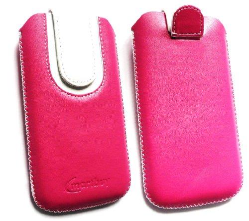 Emartbuy® Hot Rosa / Weiß PU Leder Slide in Hülle Tasche sleeve Halter ( Größe 3XL ) Mit Zuglasche Mechanismus Geeignet Für Slok D1 Dual Sim Smartphone
