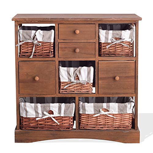 Rebecca Mobili Armario Cajonera Cómoda 9 Cajones Madera Mimbre Marron Vintage Casa de Campo Cocina Salon 69 x 69 x 30 (AxANxFON) - Art. RE4021