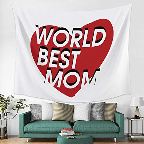 Tapiz para colgar en la pared del día de la madre, 152,4 x 228,6 cm, diseño de corazón, mamá, para dormitorio, sala de estar