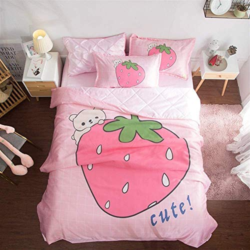 FlowersER Double Duvet 4.5 Tog Pink Cartoon Print Pattern Quilt And Sheet 2 Pillowcases Set Bedding Set (Color : B, Size : DOUBLE 200 * 230cm)