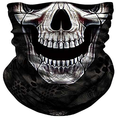 Skull Face Mask Dust Wind Sun Protection Seamless 3D Tube Mask Bandana for Men Women Durable Thin Breathable Skeleton Mask Motorcycle Riding Biker Fishing Cycling Sports (Black nose skull)