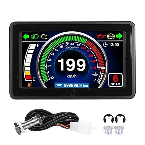 Mxzzand Medidor LCD Impermeable 12V ABS Tacómetro Digital para 1/2/4 Cilindros para Motocicleta