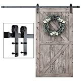 SmartStandard 8 Foot One-Piece Track Sliding Barn Door Hardware Kit - Smoothly and Quietly - Easy to Install - Includes Step-By-Step Installation Instruction -Fit 42'- 48' Door Panel (J shape)