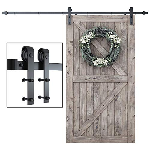 """SmartStandard 8 Foot One-Piece Track Sliding Barn Door Hardware Kit - Smoothly and Quietly - Easy to Install - Includes Step-By-Step Installation Instruction -Fit 42""""- 48"""" Door Panel (J shape)"""
