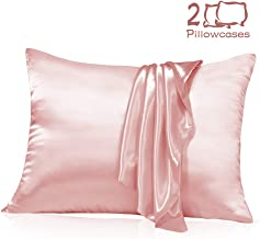 Muama Satin Silk Pillowcase 2 Pack for Hair and Skin with Hidden Zipper Luxury Silky Pillow Case Super Soft and Breathable Pillowcase Covers Queen Size (Pink, 20''X26'')