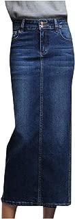 RkBaoye Women's High-Rise Slim Denim Split Maxi Bodycon Bandage Skirt
