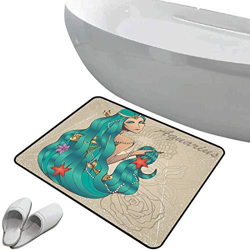 Alfombra de baño antideslizante Zodiaco acuario suave antideslizante Dama con flores de perlas Estrella de mar Sexy Fantasía Diseño gráfico de personajes,Verde y crudo, Para ducha Felpudo Dormitorio S