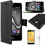 ebestStar - Coque Wiko Tommy Etui PU Cuir Housse Portefeuille Porte-Cartes Support Stand, Noir + Film Protection écran...