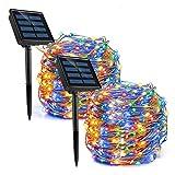 REDSTORM - Guirnalda luminosa solar para exteriores, 20 m, 2 x 100 LED, impermeable, 8 modos, luz decorativa para jardín, balcón, terraza (multicolor)