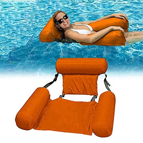 Opblaasbare waterhangmat, vouwbare zwembad float lounge stoel zitje met rugleuning zwemmen stoel zwembad float lounge water stoel water hangmat