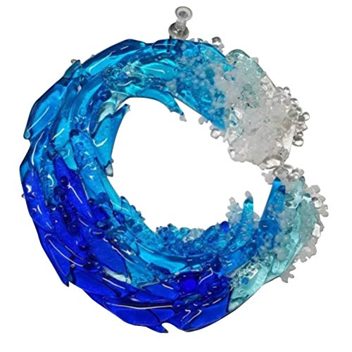 Mumaya Blue Wave Wall Hanging Glass Art,Ocean Hanging Ornaments, Wave Decoration, Room Decor, Blue Wave Wall Hanging,for Home Room Wedding Decor Accessorie
