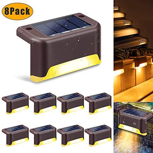 Solarlampe für Außen swonuk 8 STÜCKE LED Deckleuchten Solarlicht im Freien Außenweg Treppe Lampe fur Terrasse Zaun