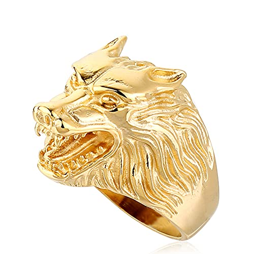 SBRTL Anillo Cabeza de Lobo para Hombre, Acero Inoxidable Gótico Vintage Dorado Nórdico Vikingo Odin Fenrir Anillos de Animales Cool Biker Amuleto Joyería Tamaño 7-15,Oro,12