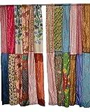 Cortinas y cortinas de reciclaje para ventana y decoración del hogar, 2 piezas (variadas)