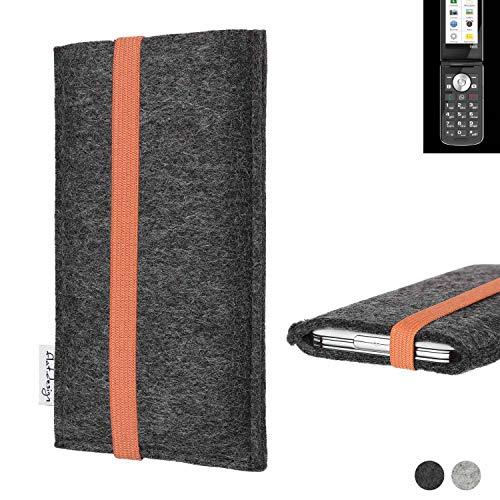 flat.design vegane Handy Tasche Coimbra für Emporia TOUCHsmart - Schutz Hülle Tasche Filz vegan fair orange