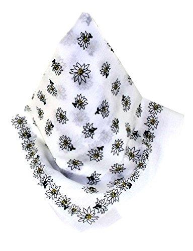 Weißes Nickituch im Edelweißdesign | Bandana aus 100% Baumwolle | 53 x 53 cm | Halstuch | Teichmann